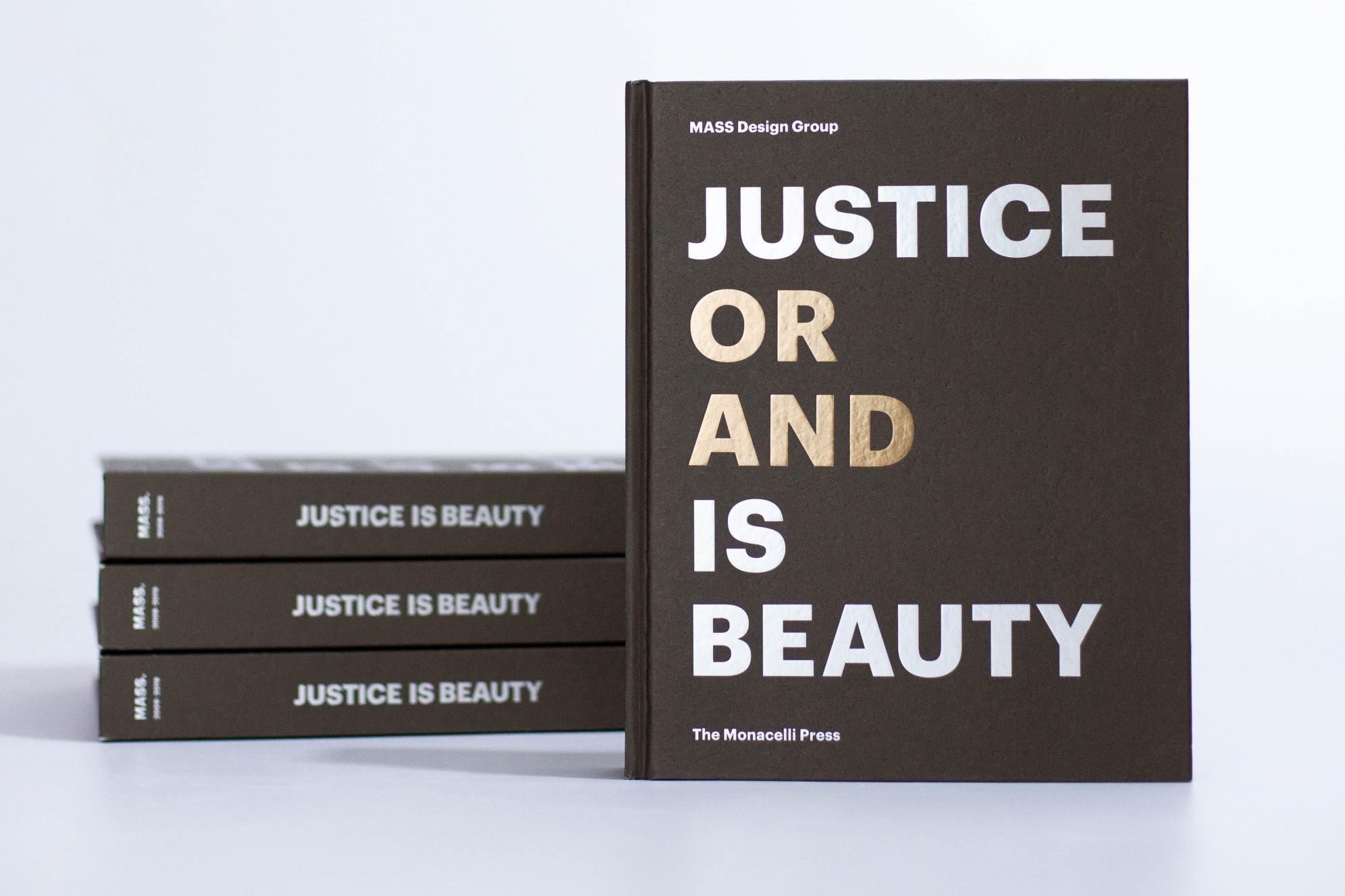 Justice is Beauty books stacked