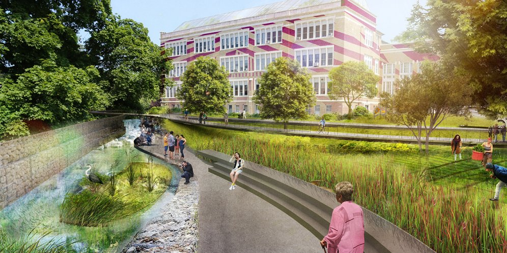Rendering of the Poughkeepsie Family Partnership Center, View of the Building from the river with passerbys enjoying the outdoors