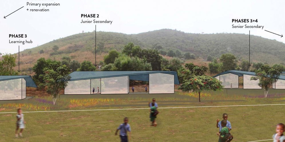 Rendering of Madieu Williams School, Soccer field with built program beyond