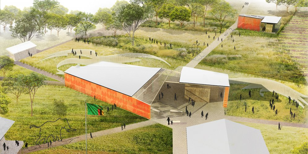 Rendering of Lapani African Conservation School, Site plan and materplanning of campus