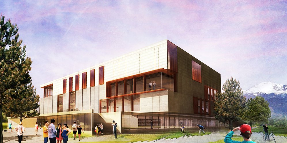 Rendering of Colorado College - Tutt Library Revisioning, Exterioir building facade and context of college campus