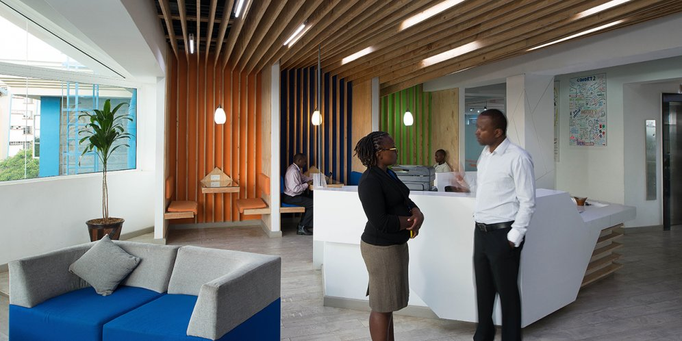 Photo of Young African Leaders Initiative, Open layout of front reception area, booth and couch seating