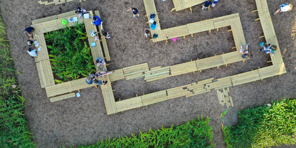 An aerial view of Corn / Meal, an installation at Central Middle School in Columbus, IN as part of Exhibit Columbus 2019