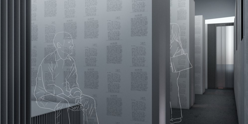 A render of the Writing on the Wall exhibit. A figure sits to contemplate text written by incarcerated individuals