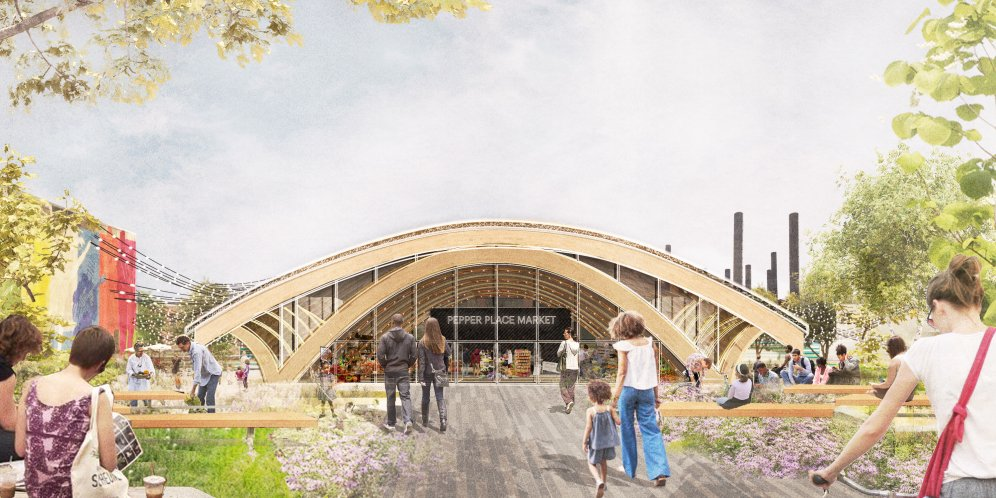 Render of the Pepper Place Market exterior