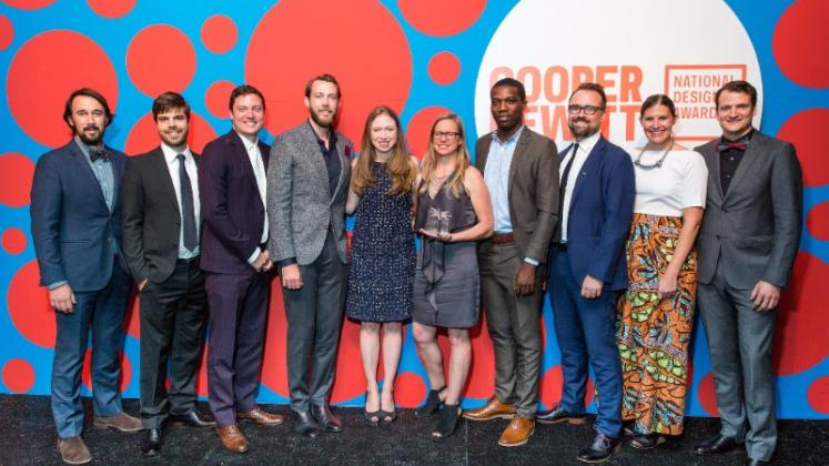 MASS Design Group leadership with Chelsea Clinton at Cooper Hewitt National Design Awards in 2017.