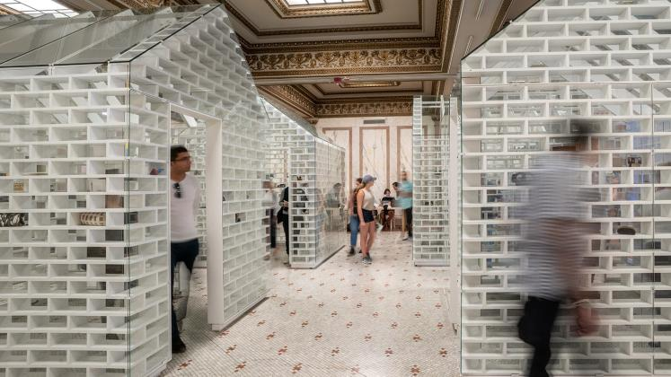 Photo of the Gun Violence Memorial Project installed at the Chicago Architectural Biennial