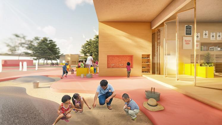 Classroom and playspace at the Trung Nguyen Kindergarten