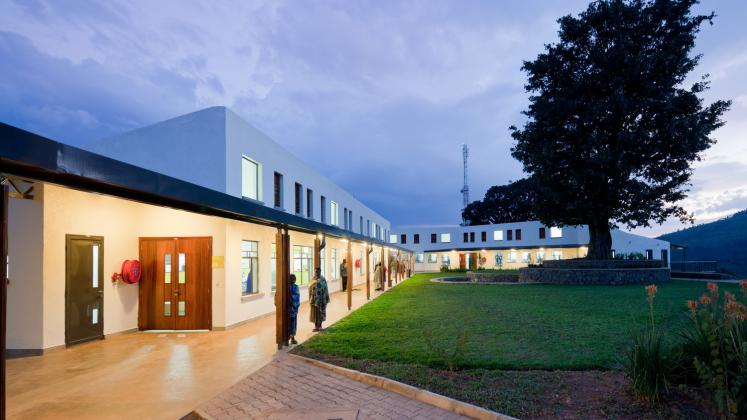Photo of Butaro District Hospital, Photo by Iwan Baan, Exterior Hallway and Courtyard