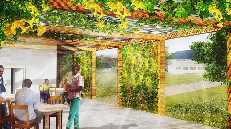 Rendering of open air outdoor patio designed for group work and informal meetings