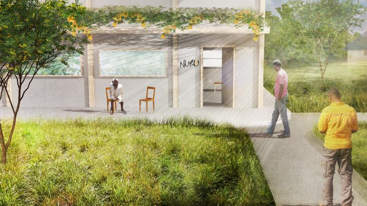Rendering of pathway from courtyard to proposed rennovated Nuru Ethiopia headquaters