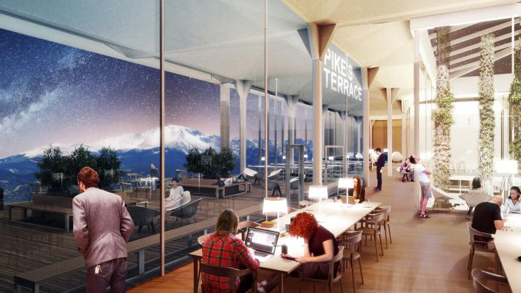 Rendering of Colorado College - Tutt Library Revisioning, Cafe and communal seating area overlooking college campus and mountains beyond