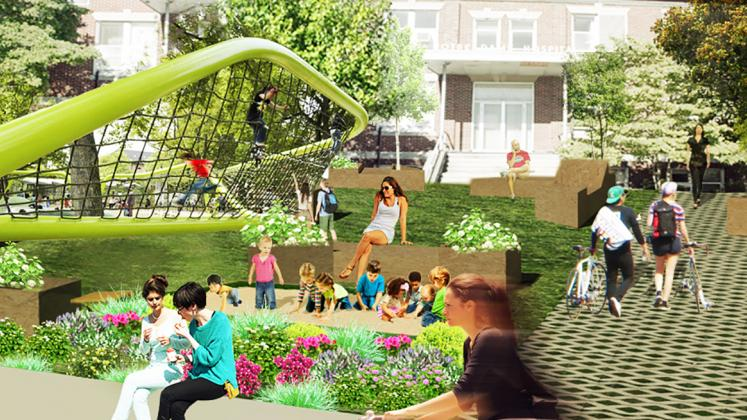 Rendering of Neighborhood Health Stations of Rhode Island, View of courtyard and playground
