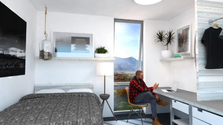 Rendering of Colorado College Housing, Interior of dormroom