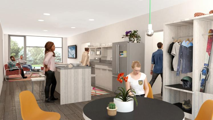 Rendering of Colorado College Housing, Upper classmen's kitchen and communal living space