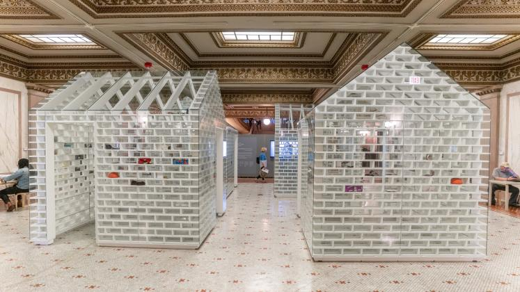 The Gun Violence Memorial Project in Randolph Square at the Chicago Cultural Center
