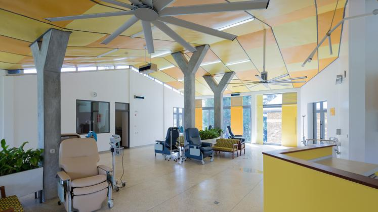 Photo of Butaro Ambulatory Cancer Center, Photo by Iwan Baan, Patient Ward with View of Reception Counter