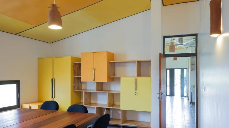 Photo of Butaro Ambulatory Cancer Center, Photo by Iwan Baan, Conference Room with Custom Shelving