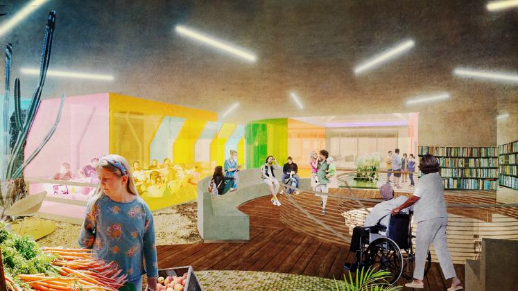 Rendering of the New York Public Branch Libraries Re-envisioning, Coney Island farmers market interior