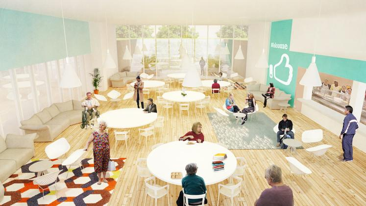 Rendering of the Poughkeepsie Family Partnership Center, Interior view of the Cafe