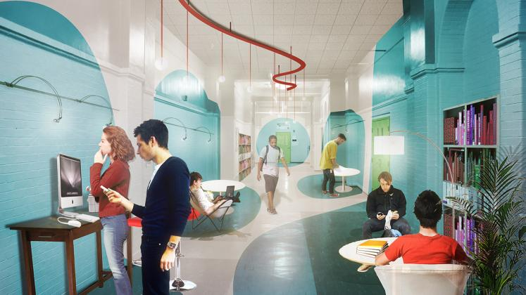 Rendering of the Poughkeepsie Family Partnership Center, Interior view of the renovated hallway