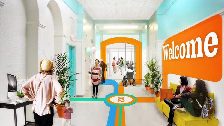 Rendering of the Poughkeepsie Family Partnership Center, Renovated Hallway with students and otehr community members