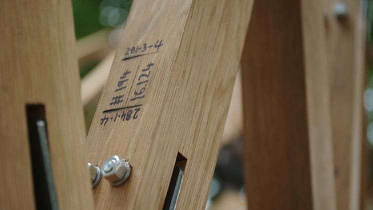 Photo of Design Biennial Boston, Photo from Virginia Tech CDR, Close up on custom joinery branding details
