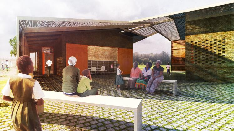 Rendering of Lupani African Conservation School, communal seating area