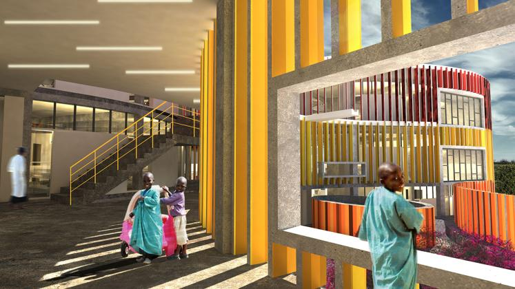 Rendering of Redemption Hospital, View of interior corridor and patient interaction