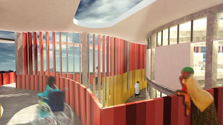 Rendeirng of Redemption Hospital, Interior Ramp with views to patient interaction