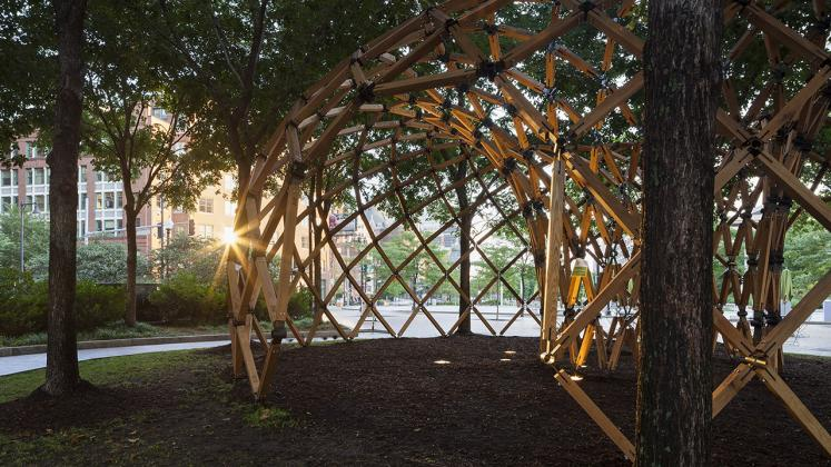 Photo of Design Biennial Boston, Photo by Messinger, View of site and pavillion at sunset