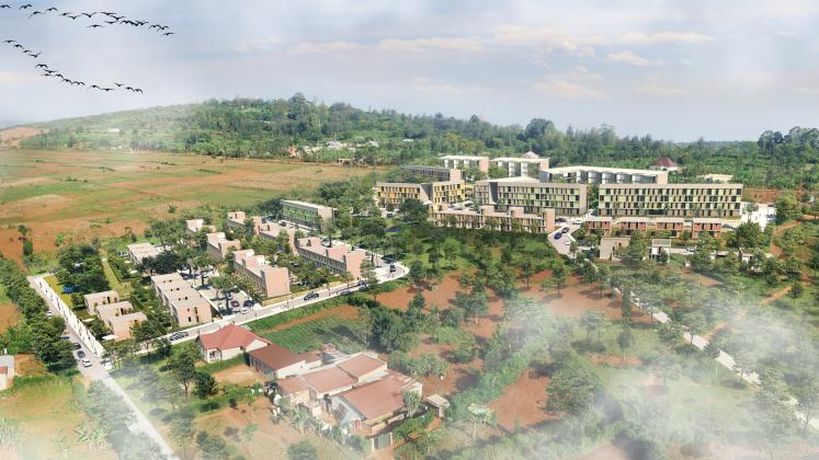 A aerial render of the Masaka Affordable Housing