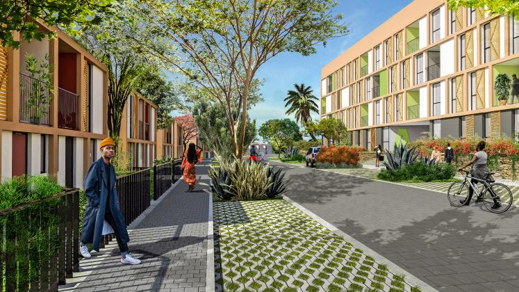 A render of the Masaka Affordable Housing from the street