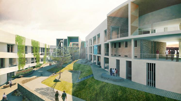 Rendering of the Munini District Hospital, Courtyard in between patient care wards