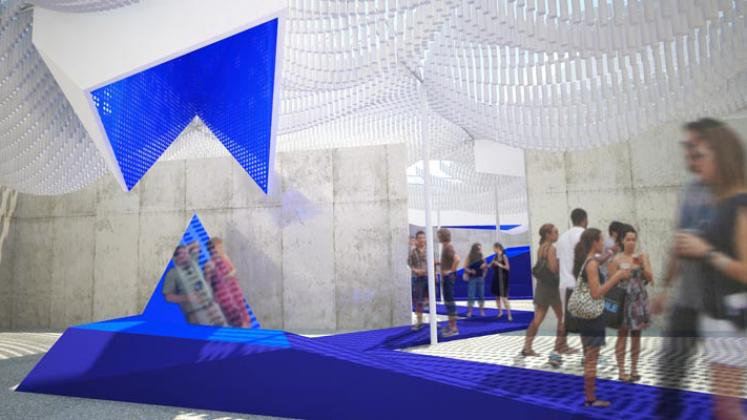 Rendering of MoMA PS1 Bottle Service Courtyard, Underneath canopy