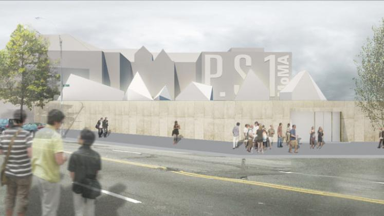 Rendering of MoMA PS1 Bottle Service, streets view to front facade