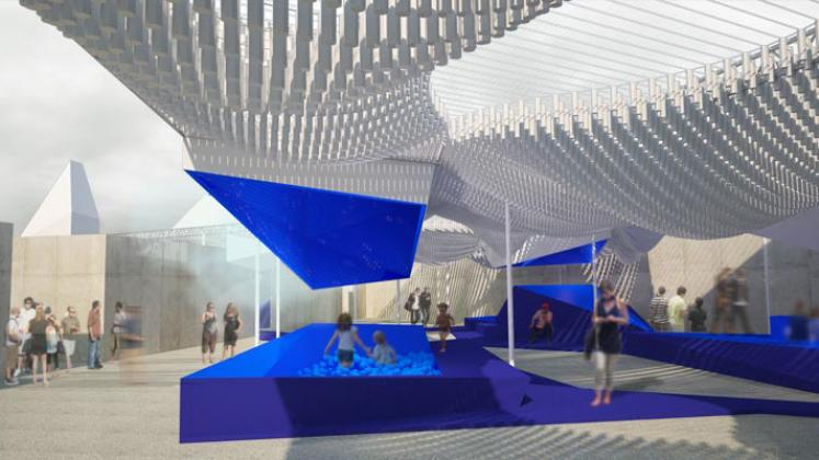 Rendering of MoMA PS1 Bottle Service, View of interior of courtyard, underneath the canopy