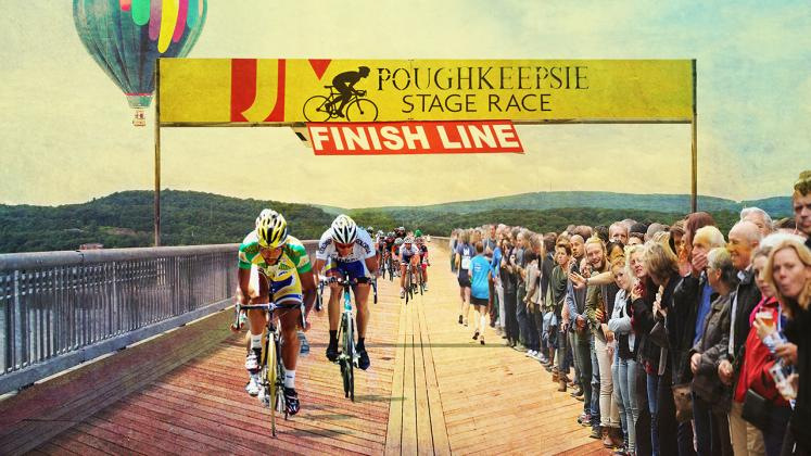 Rendering of proposed placemaking intervention on the Walkway Over the Hudson, Poughkeepsie Stage Race