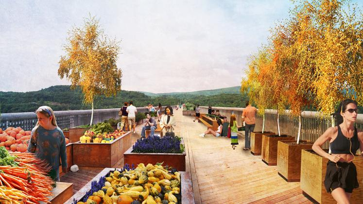 Rendering of proposed placemaking intervention on the Walkway Over the Hudson, Poughkeepsie Farmers Market
