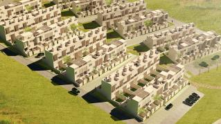 Rendering of Bialek Affordable Housing, View of site masterplan