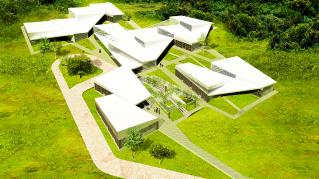 Rendering of Bishop Masereka Medical Center, View of site and context