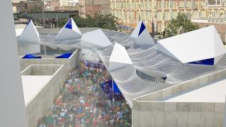 Rendering of MoMA PS1: Bottle Service, View of exterior courtyard