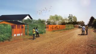 Rendering of Nuru Headquaters, View from the street and exterior facade