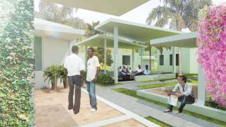 Rendering of St. Boniface Hospital, View of courtyard with patients and doctors engaging the space