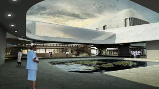 Rendering of Art of Healthcare Cardiac Hospital, Interior Courtyard Rendering with waiting pool in middle