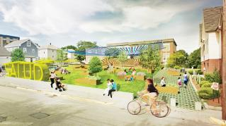 Rendering of Neighborhood Health Stations of Rhode Island, Exterior Front of the site