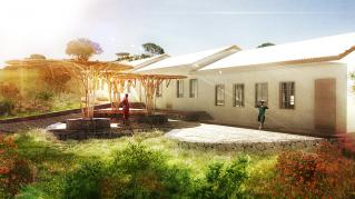 Rendering of proposed Manyara Ranch Primary School, Courtyard connected to dorm rooms
