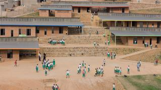 Photo of the Umubkano Primary School, Photo by Iwan Baan, Aerial Photo of the Tiered Landscape and Classroom Buildings