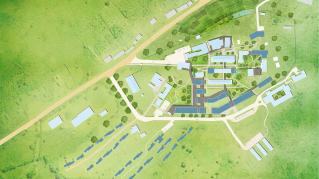 Rendering of Rwinkwavu 20 Year Masterplan, Masterplan from an aerial view