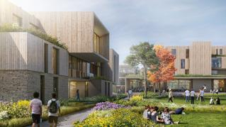 Rendering of Colorado College - Housing, Central courtyard in housing complex